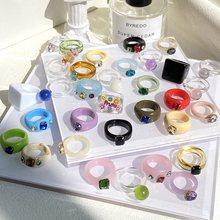 Neue Mode Vintage Einfache Acetat Bunte Acryl Ringe Set Für Frauen Mädchen Dicke Runde Harz Ringe Schmuck Zubehör Geschenke