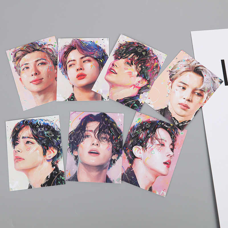 7pcs/set KPOP Bangtan Boys Album MAP OF THE SOUL : 7 Collection Card Oil Painting Photocard Lomo Card