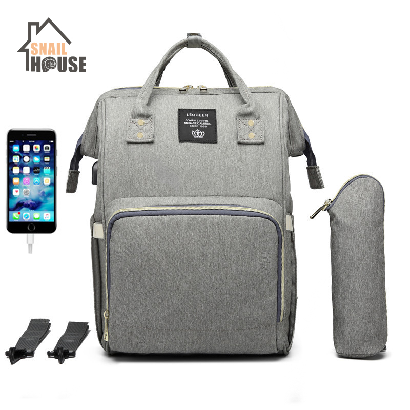 Snailhouse Baby Diaper Bag With USB Mummy Maternity Nappy Bag Large Capacity Nappy Bag Travel Backpack Nursing Bag For Baby Care