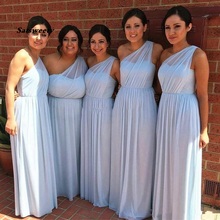 One Shoulder Flowy Chiffon Bridesmaid Dresses Pleated Floor Length Plus Size Prom Gray Blue Mint Green Maid Of Honor plus cold shoulder floral print flowy top