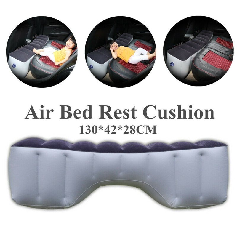 Car Inflatable Mattress Split Body Travel Back Seat Outdoor Air Bed Cushion Pillows Pad