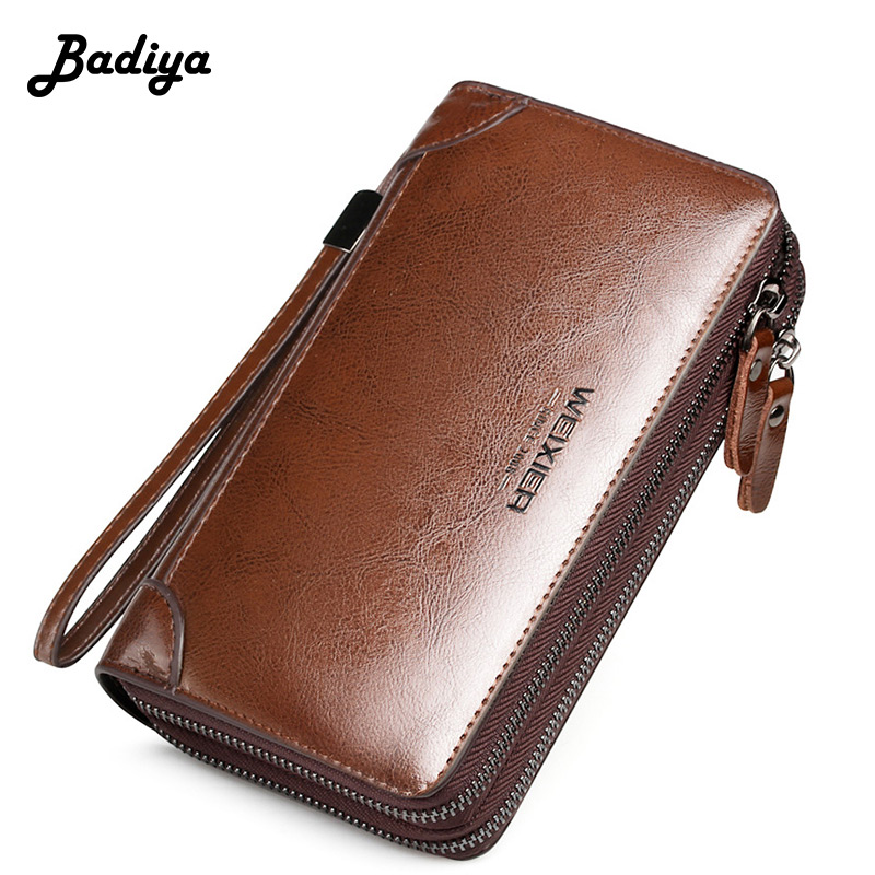 Mens Wallets Multifunction Phone Coin Purse Multi-card Position Card Holder Casual Long Zipper Purse Male Business Clutch Bag