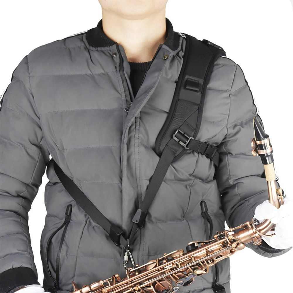 Profesjonalna regulowana uprząż na ramię czarny saksofon saksofonowy smycz na szyje na akcesoria do saksofonu
