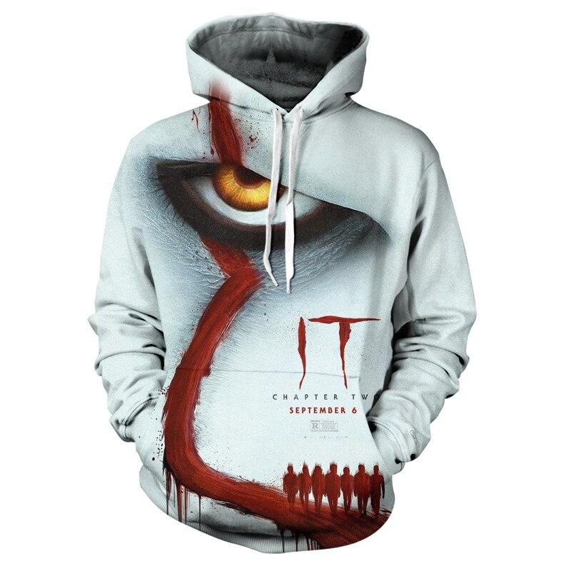 2019 IT Clown 3D Hoodies Men Women Freddy Jason Murderers Film Pullover Annabelle Personality Funny Sweatshirts Free Shipping