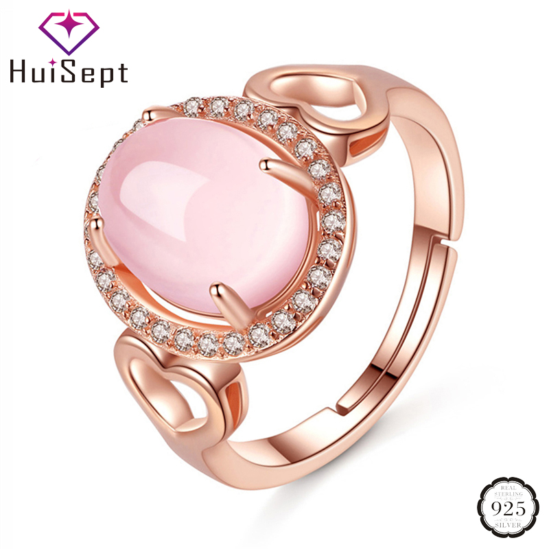 HuiSept 925 Silver Ring 8*10mm Oval Shape Rose Quartz Gemstone Zircon Rose Gold Resizable Jewelry Rings for Women Wedding Party