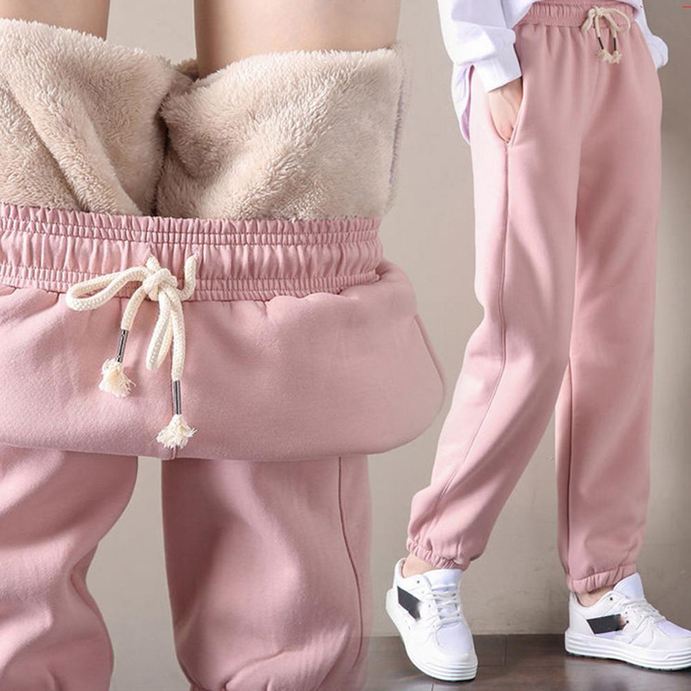 2019 Winter Women Gym Sweatpants Workout Fleece Trousers Solid Thick Warm Winter Female Sport Pants Running Pantalones Mujer