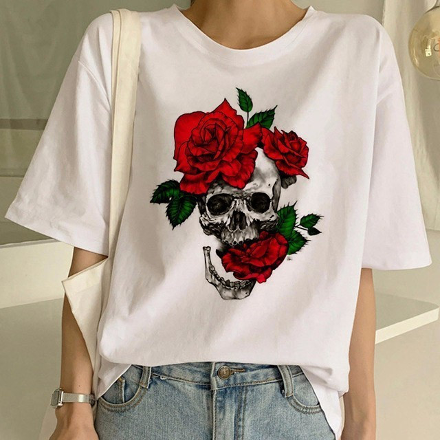 New Fashion Punk <font><b>T</b></font> <font><b>Shirt</b></font> Guns N Roses <font><b>T</b></font>-<font><b>Shirt</b></font> Women White Tshirt Street <font><b>Rock</b></font> Women Tops Pistola N Roses Print <font><b>Dress</b></font> Hip Hop Tees image