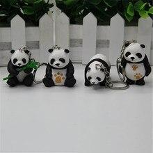 Panda bonito chaveiro pingente tridimensional panda boneca moda saco ornamentos viagem pequenos presentes jóias pingentes