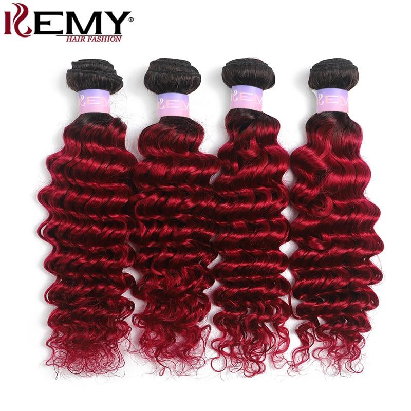 T1B/99J Burgundy Deep Wave Human Hair Bundles KEMY HAIR 3/4 PCS Ombre Red Color Brazilian Hair Weave Bundles Non-Remy Extensions