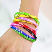 Lote 10 pçs cores misturadas letras imprimir silicone pulseira pulseira de borracha elástica amizade pulseiras masculino feminino jóias