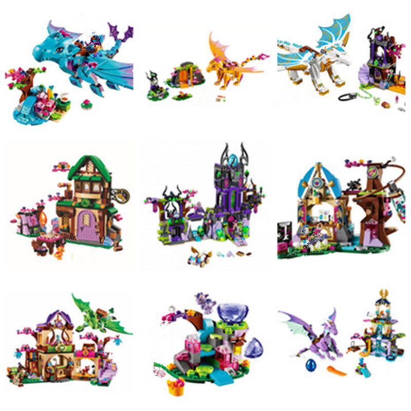NEW Fairy Elves Girls <font><b>Dragon</b></font> Fit <font><b>Legoings</b></font> Elves Fairy Friends Figures <font><b>Castle</b></font> Building Block Brick Toys Kid Girls Birthday Gift image