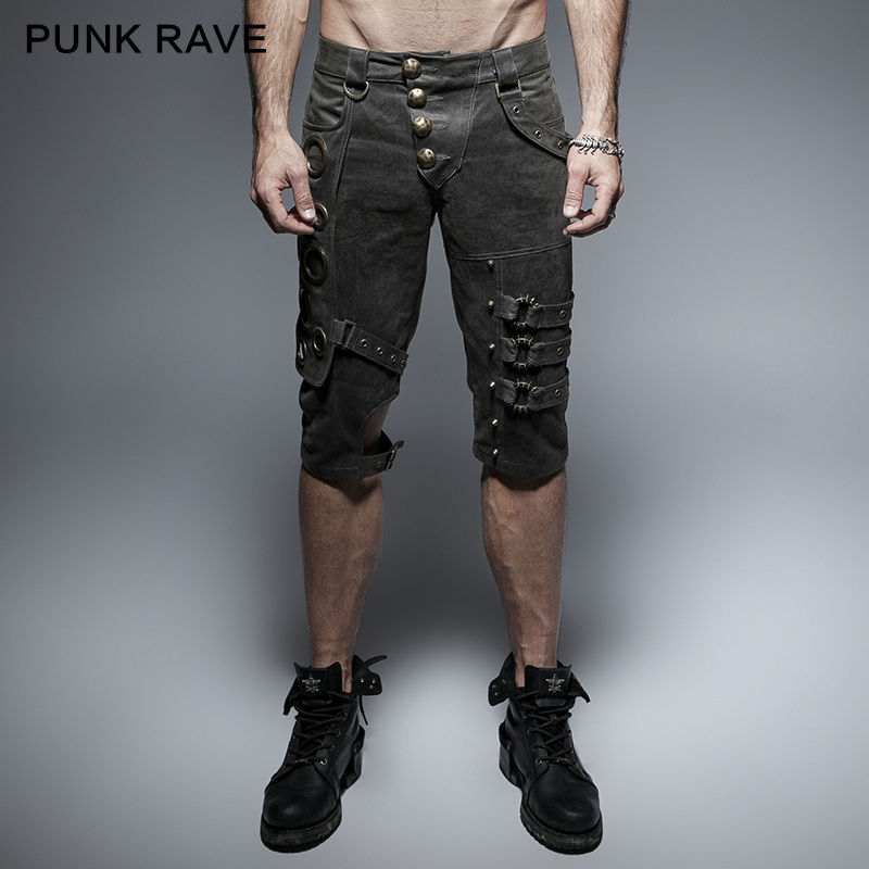 Punk Rave Mens Pants Rock Gothic Slim Men Shorts Heavery Metal Steampunk Men Shorts Streetwear Hip Hop Pants