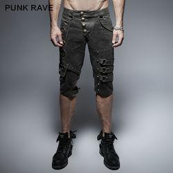 Punk Rave Mens Pants Rock Gothic Slim Men Shorts Heavery Metal Steampunk Men Shorts Streetwear Hip Hop Pants