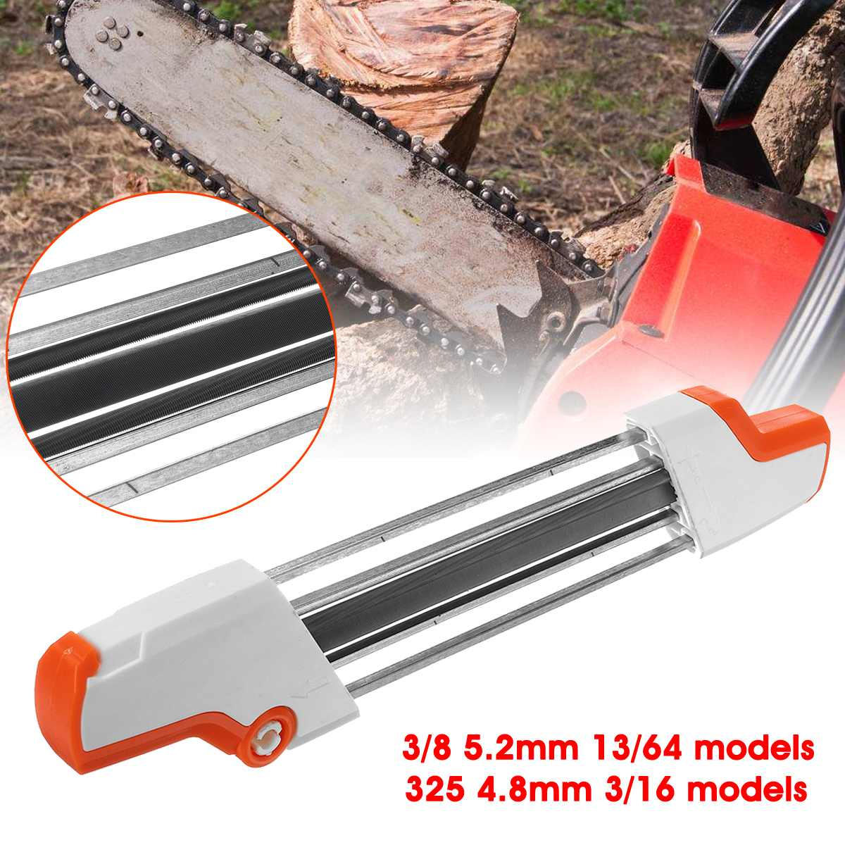 Doersupp 3/8 5.2mm 13/64 & 325 4.8mm 3/16 & 4.0mm Models 2 IN 1 Chainsaw Chain Easy File Sharpener Chain Whetstone Grinding Tool
