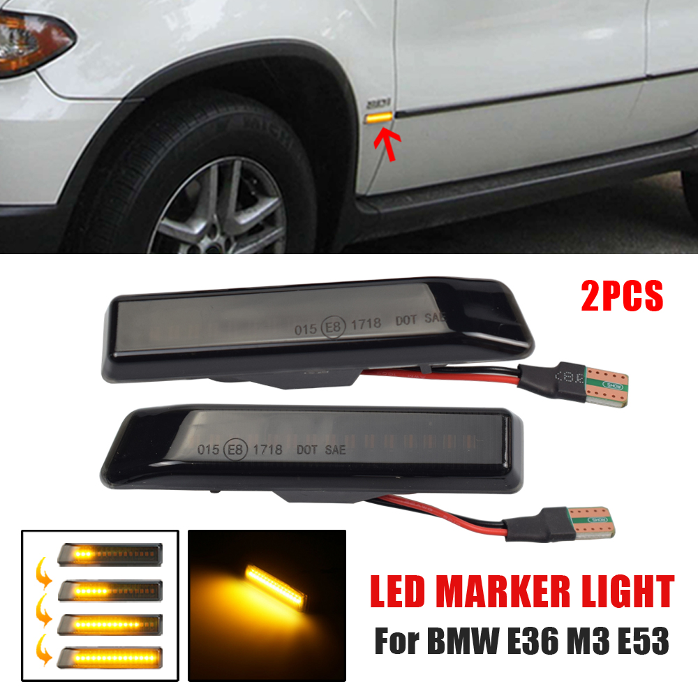 2Pcs Dynamic <font><b>LED</b></font> Car Side Marker Lights Repeater Signal Lights For BMW <font><b>E36</b></font> M3 Facelift 1997-1999 X5 E53 1999-2006 image