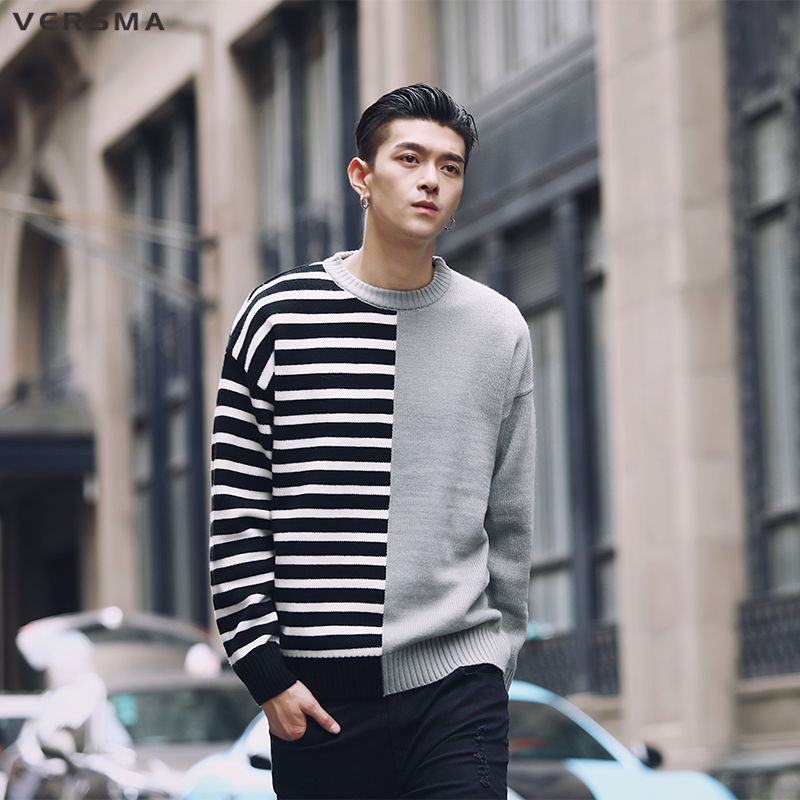 VERSMA Hip Hop Knitted Ugly Christmas Sweater Men Pullover Korean Harajuku Striped Patchwork Oversized Men Sweater Dropshipping