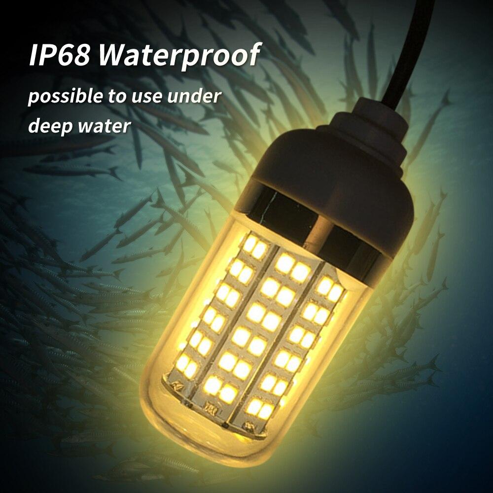 12-24V 5W 108LEDs pesca subacquea esca esca sommergibile Fish Finder lampada IP68 con cavo 5m/16.4ft