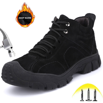 Winter Mens Work Safety Shoes with Steel Toe Male Puncture Proof Velvet Warm Leather Waterproof Ankle High Breathable Work Boots