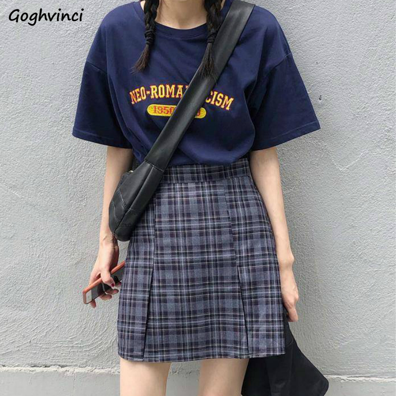 Women Sets Short Sleeve Printed Clothes Plaid Mini High Waist Trousers Plus Size 5XL Loose Students Retro Chic Streetwear Trendy