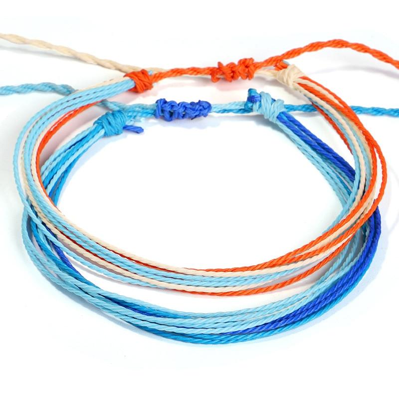Bohemian Thread Adjustable Bracelet Beach Foot Anklet Handmade String Cord Woven Leg Bracelets For Women Men Summer Jewelry