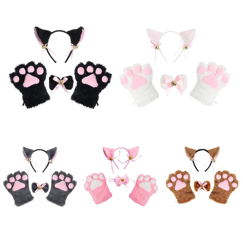 Kawaii Women Girls Plush Maid Cosplay Costume Set Cat Ears Bell Alligator Hairpins Bowtie Collar Animal Tail Paws Gloves Lolita
