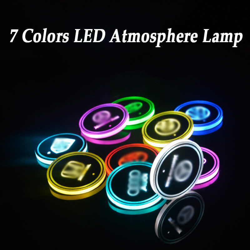2 Pieces LED Car Logo Cup Lights For Audi BMW Ford Toyota Honda 7 Colors Atmosphere Light LED Mats Bottle Lamps USB Charging