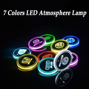 2 Pieces LED Car Logo Cup Ligh