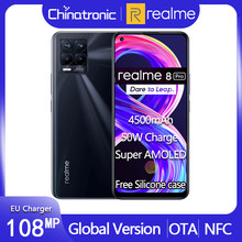 "Küresel sürüm realme için 8 Pro cep telefonu 108MP Quad kamera 4500mAh 50W hızlı şarj 6.4 ""süper AMOLED snapdragon 720G OTA NFC"