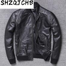 JCHB 2021  Genuine Leather Jacket Men Cowhide Bomber Jacket Casual Spring Autumn Cow Leather Coat Chaqueta Cuero Hombre X-351NP