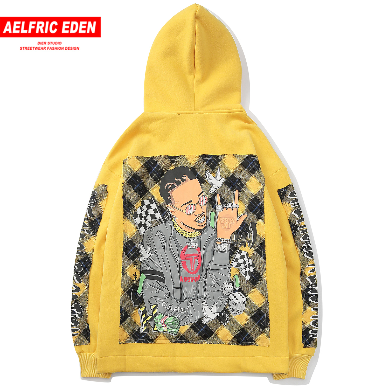 Aelfric Eden Patchwork Plaid Printed Thick Hoodies Men 2019 Harajuku Hip Hop Pullover Casual Cotton Hooded Sweatshirt Streetwear