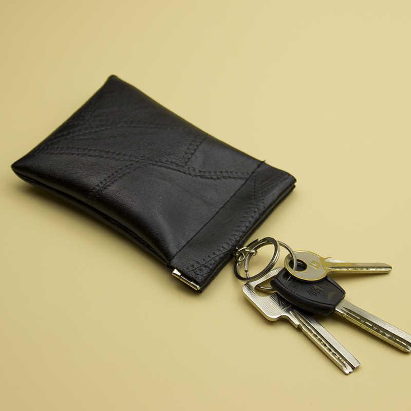 Lralra 새로운 패션 가죽 롱 포켓 키 지갑 열쇠 고리 동전 지갑 여성 남성 작은 짧은 돈 변경 가방 작은 카드 홀더