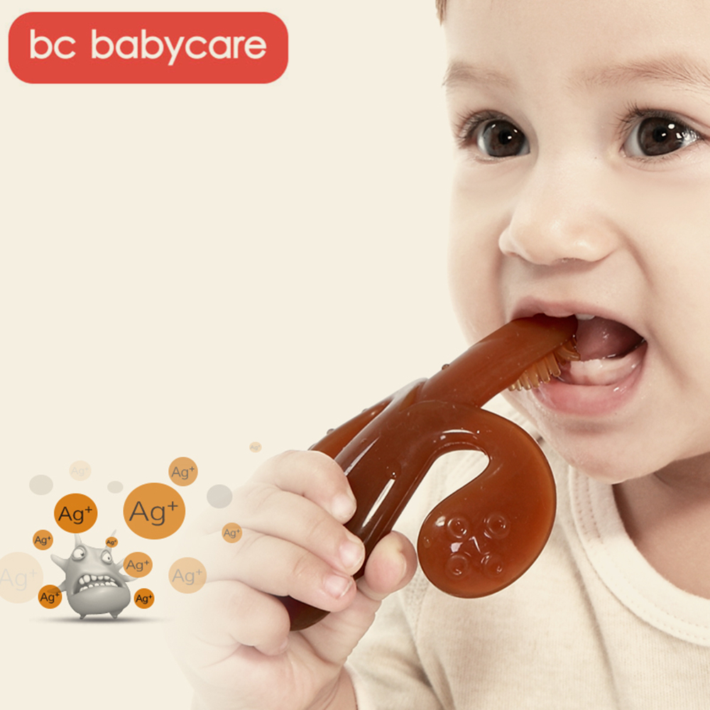BC Babycare High Quality Nano Silver Silicone Safe Baby Training Toothbrush Easy Clear Soft Deformable Banana Baby Teether