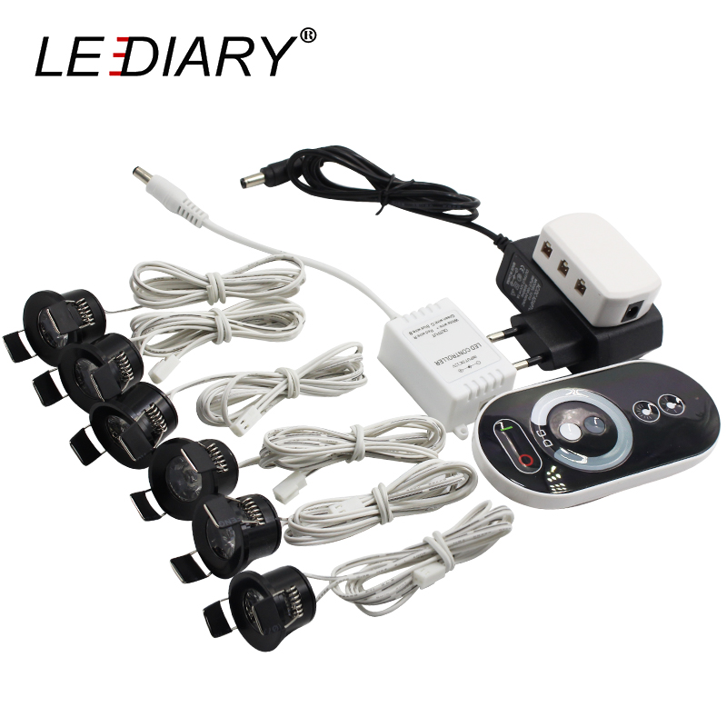 LEDIARY Black Mini Spot LED Remote Dimmable Downlights 1.5W 27mm Cut Hole 110-220V Ceiling Recessed Mounted Lighting Fixtures
