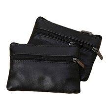 Для мужчин и женщин, для монет, для ключей, мягкий держатель, на молнии, кожаный кошелек, сумка, кошелек, подарок, новые модные черные мини-держатели для монет