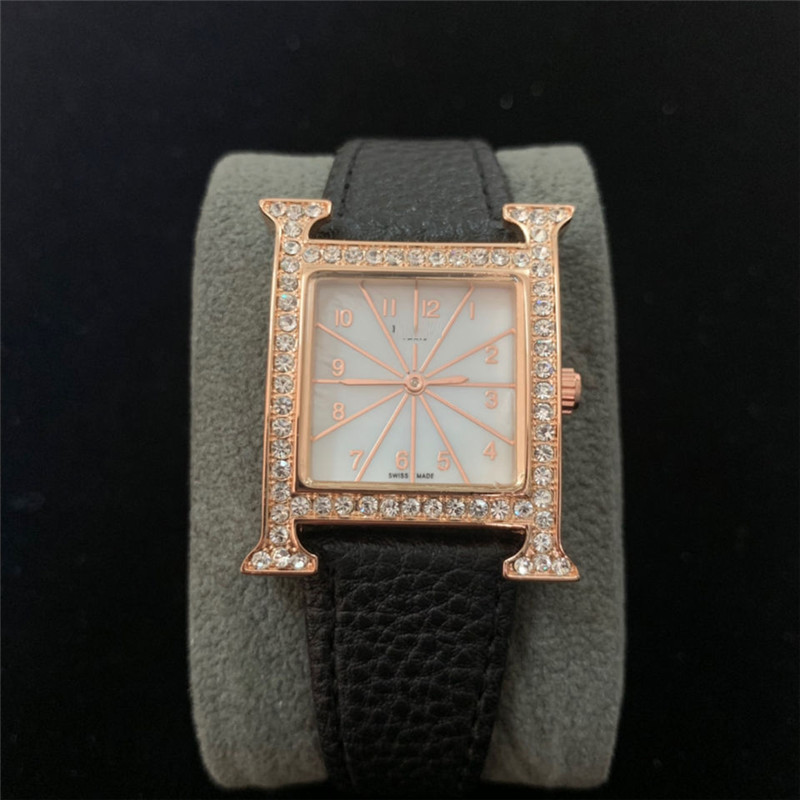 H Luxury Letter Simple Square Quartz Women's Rosegold Diamond Wristwatch Trend And Fashion Gift For Women
