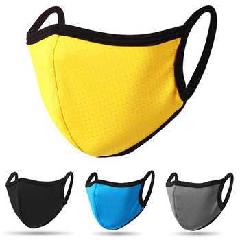 Mascarilla de color amarillo reutilizable y lavable