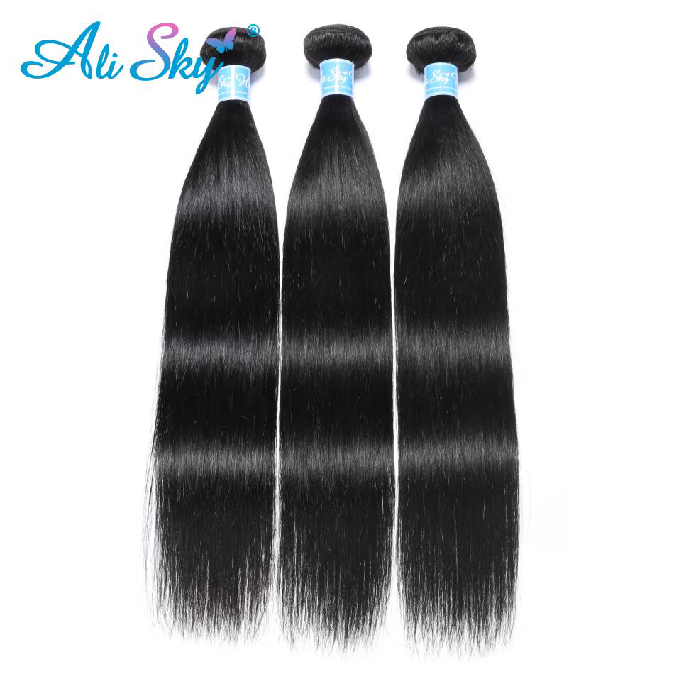 Alisky cheveux péruviens cheveux raides paquets 100% Extensions de cheveux humains 1 PC cheveux humains 3 et 4 paquets Remy cheveux armure en gros