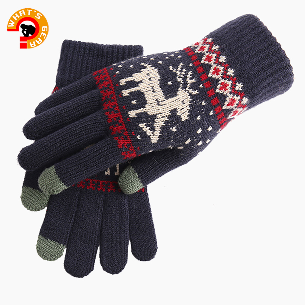 Knitted Textile Gloves  Deer Pattern Winter Full Fingers Warm Gloves Cycling Glove Ski For Chrismas Gift Unisex Winter Gloves