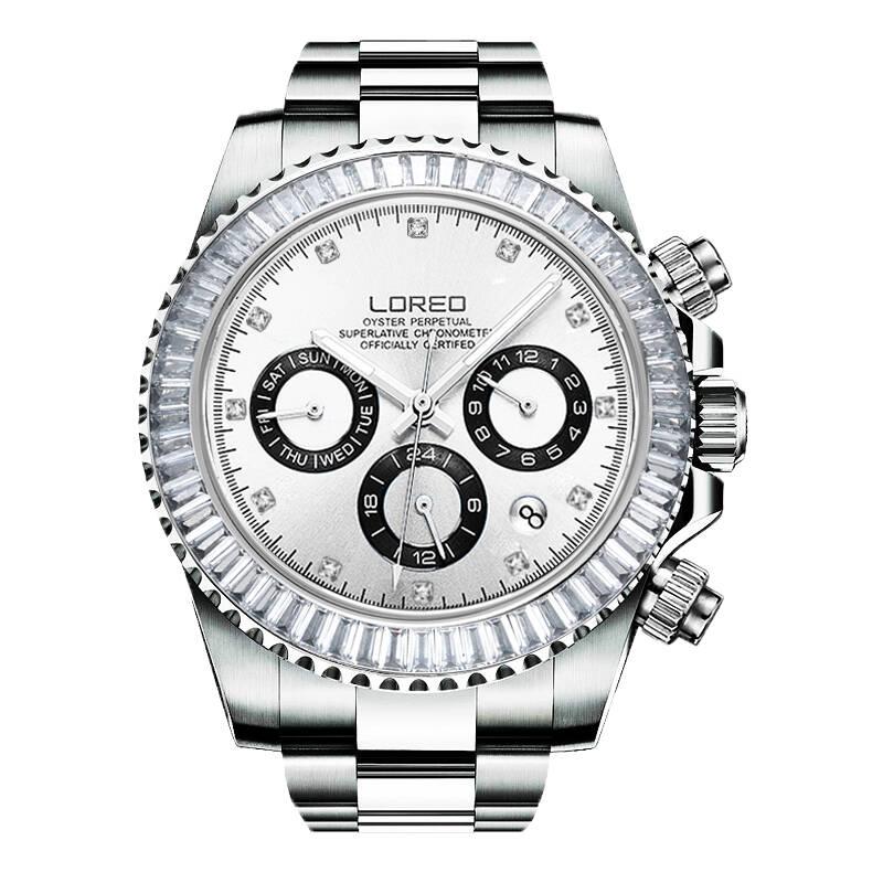 LOREO 9209 plongeur 200M huître perpétuelle cosmographe daytona automatique autrichien diamant creux calendrier résistant aux rayures saphir
