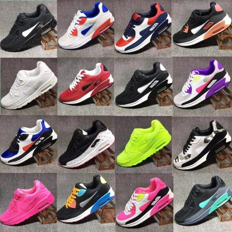 2020 New Women 90 Shoes Sneakers Classic Men Shoes Black Red White Sports Trainer Air Cushion Surface Breathable Casual Shoe