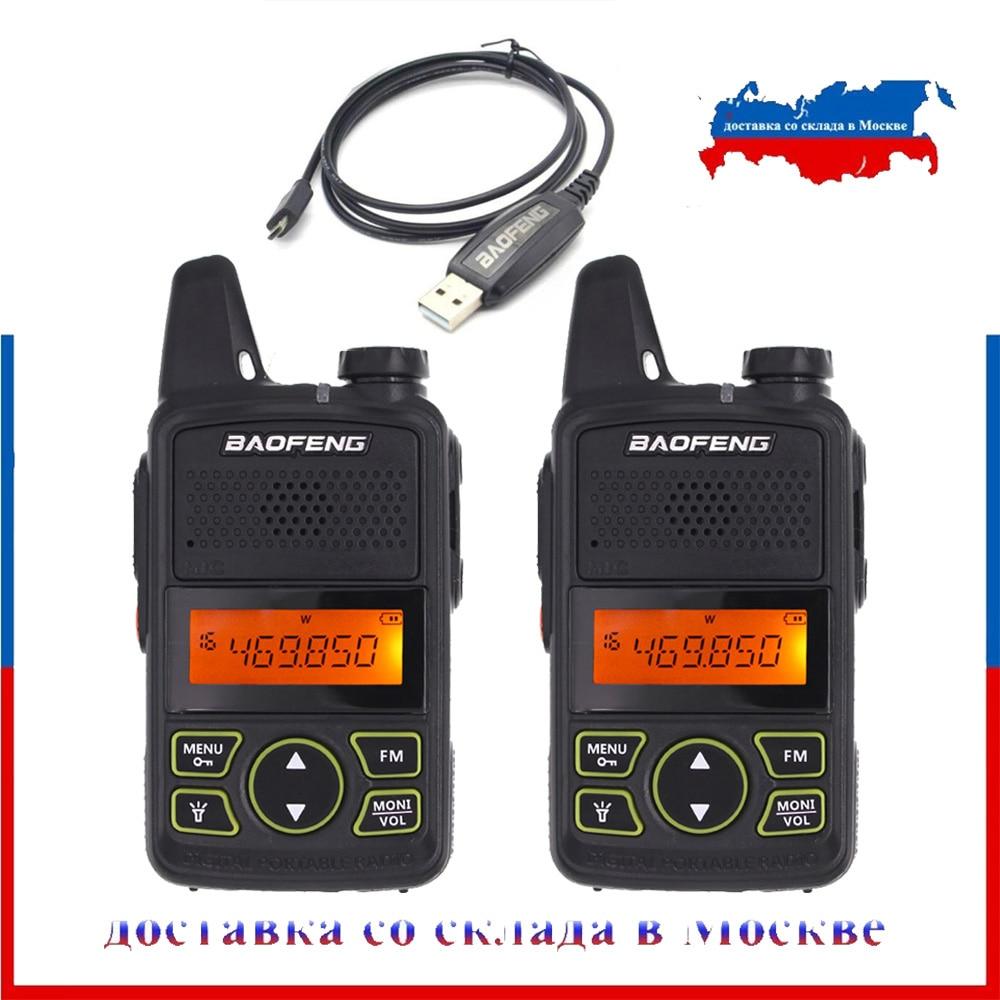 100% Original 2PCS  BAOFENG BF-T1 UHF 400-470MHZ Mini Handheld Two Way Radio BFT1 Portable Size Transceiver