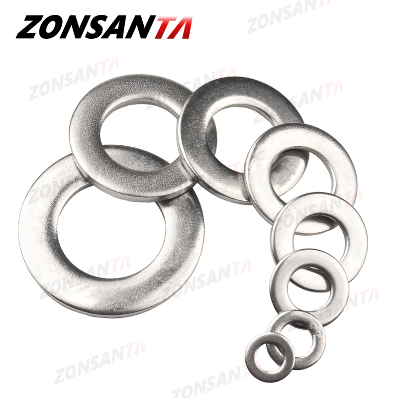 ZONSANTA Flat Washer M2 M2.5 M3 M4 M5 M6 M8 M10 M12 M14 M16 304 Stainless Steel Meson Washers Plain Washer Gaskets Spacer Shim|Washers|   - AliExpress