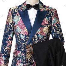New Fashion Groom Navy Blue Jacquard Men Suit Set Tuxedos Men's Wear Wedding Party Groomsman Suits terno 2019 (Jacket+Pant+Vest)(China)