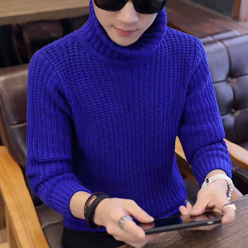 Sweater Blue Men White Black New Long Sleeve Sleek Winter Casual Turtleneck Pullovers Warm Sweater