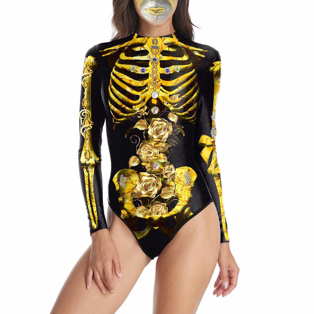 Macacão feminino traje de halloween sexy bodysuit manga longa zíper uma peça roupa interior bodysuit feminino moda superior elegante