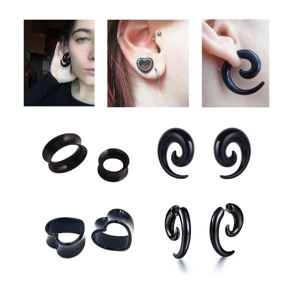 Ear Stretchers Plugs And Tunnels Pair Fake Cheater 4 Styles Acrylic Black Tapers Body Jewelry Wholesale Ear Expander Punk Sexy