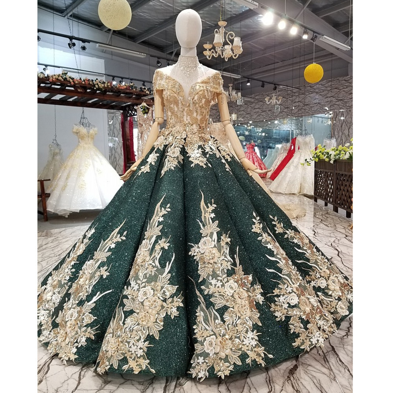 BGW 22013ht Golden Lace Flowers Shiny Ball Gown Evening Dress Off Shoulder Sweetheart Dresses With Crystal Necklace For Mothers