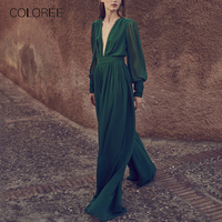 COLOREE 2019 Runway Designer Women Long Sleeve Green Jumpsuits Sexy Deep V Neck Hollow Out Female Rompers Vintage Jumpsuits