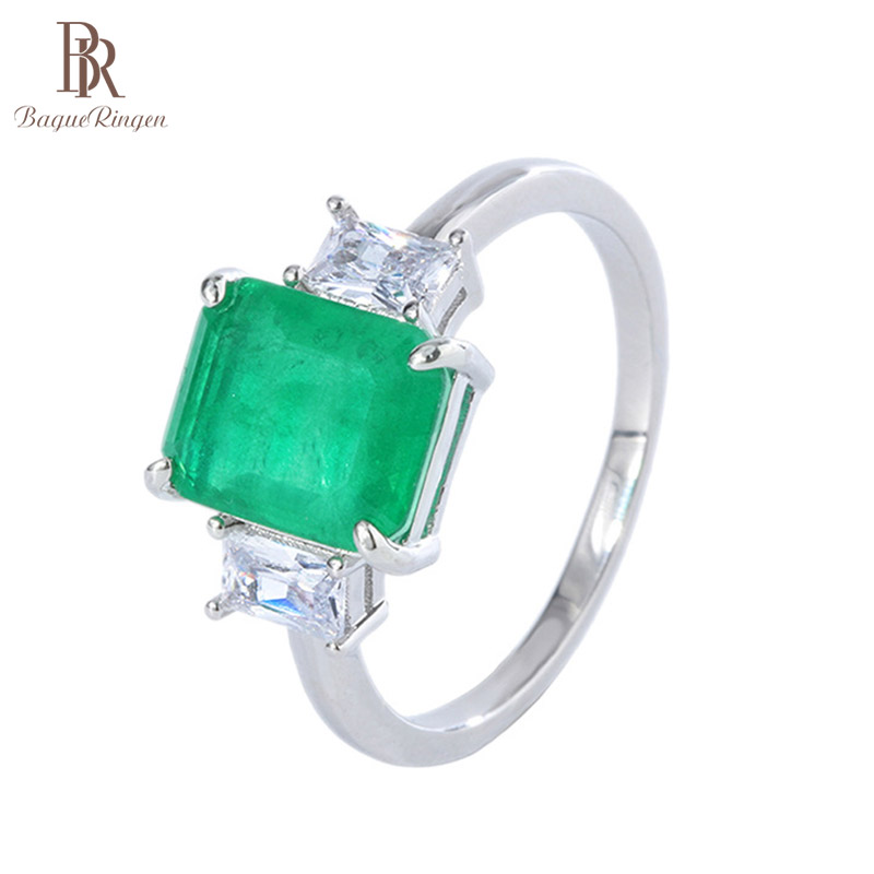 Bague Ringen 8*10mm Rectangle Emerald Ring for Women Silver 925 Jewelry Geometry Gemstones Vintage Elegant Female Gift Wholesale
