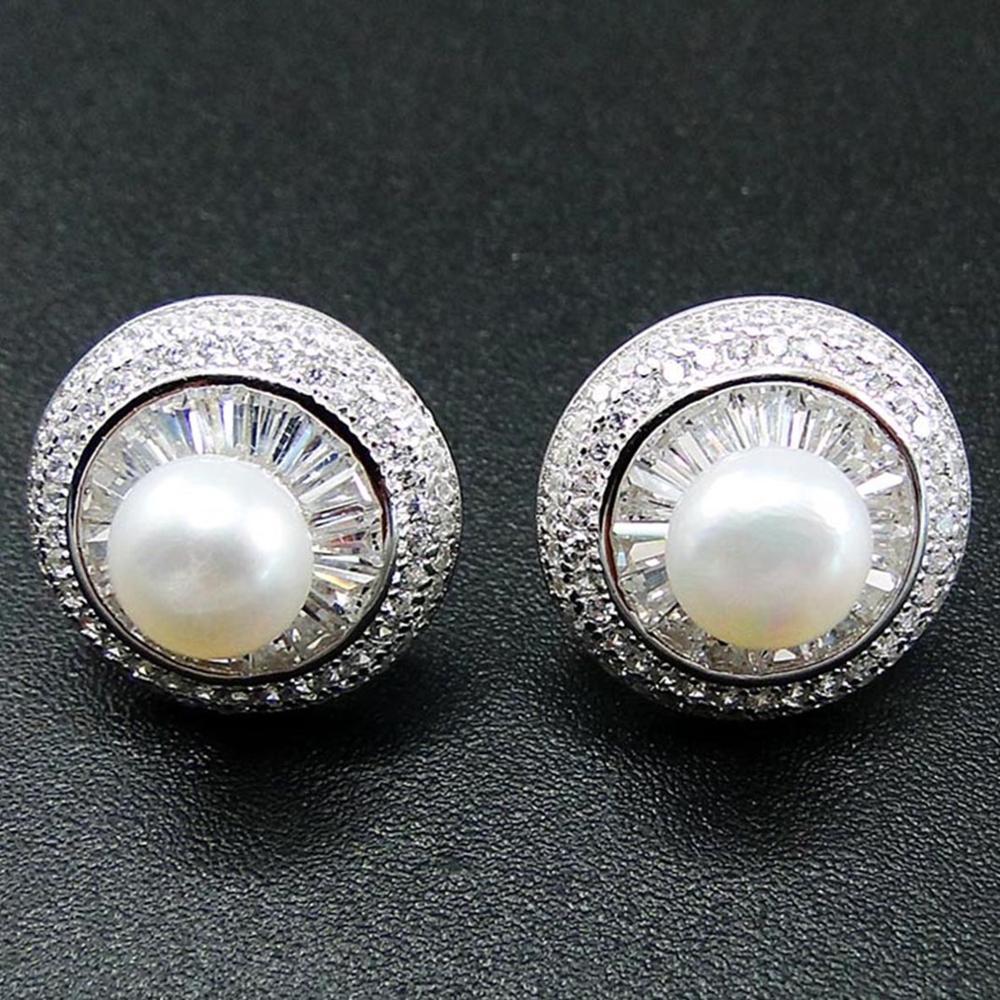 Haute qualité 925 en argent Sterling perle d'eau douce & CZ champignon femmes boucles d'oreilles pour cadeau/fête/fiançailles/anniversaire